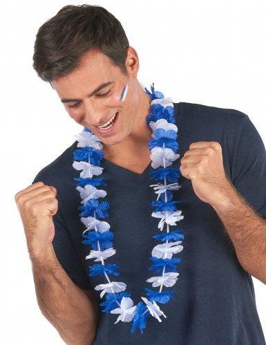 Blauwe en witte supporter Hawaii ketting voor volwassenen-1