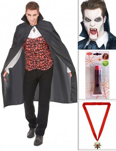 Vampier pack met cape, tanden, nepbloed en medaillon