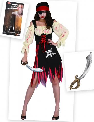 Zombie piraat pack met nepbloed en zwaard voor volwassenen