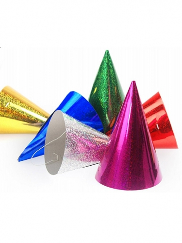 20 holografische kleurrijke feesthoedjes-1