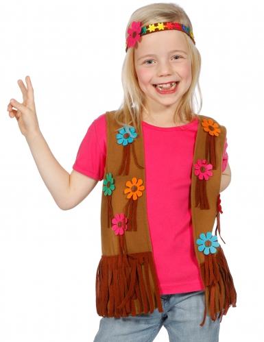 Bloemen hippie gilet en hoofdband voor kinderen