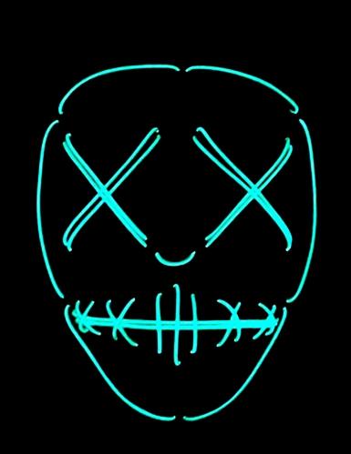 Neon skelet met dichte ogen masker