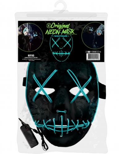 Neon skelet met dichte ogen masker-1