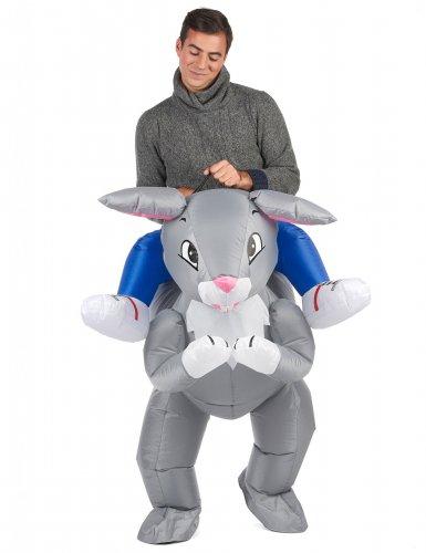 Opblaasbaar konijn kostuum voor volwassenen-1