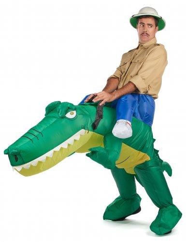 Opblaasbaar krokodil piggyback kostuum voor volwassenen