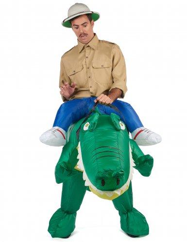 Opblaasbaar krokodil piggyback kostuum voor volwassenen-1