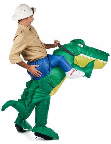 Opblaasbaar krokodil piggyback kostuum voor volwassenen-2