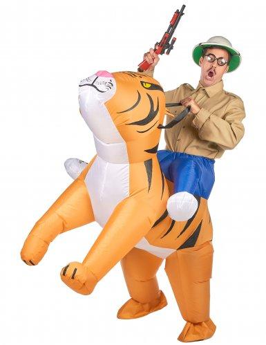 Opblaasbaar tijger kostuum voor volwassenen
