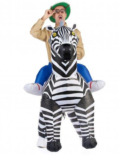 Opblaasbaar zebra kostuum voor volwassenen-1