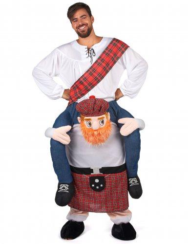 Man op de rug van een Schot kostuum voor volwassenen-1