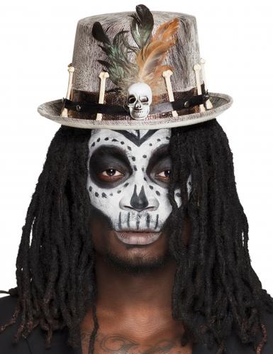 Grijze voodoo hoge hoed voor volwassenen