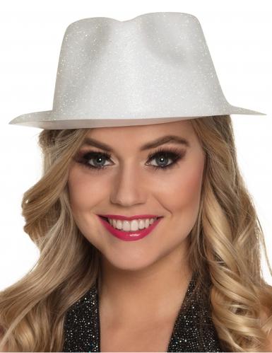 Witte glitter hoed voor volwassenen-1