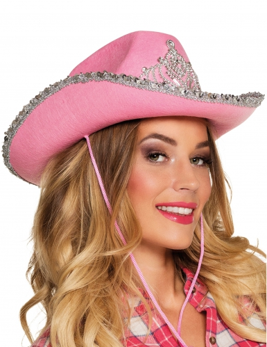 Roze prinsessen cowboy hoed voor volwassenen