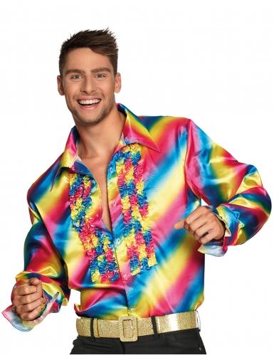 Regenboog disco blouse voor volwassenen