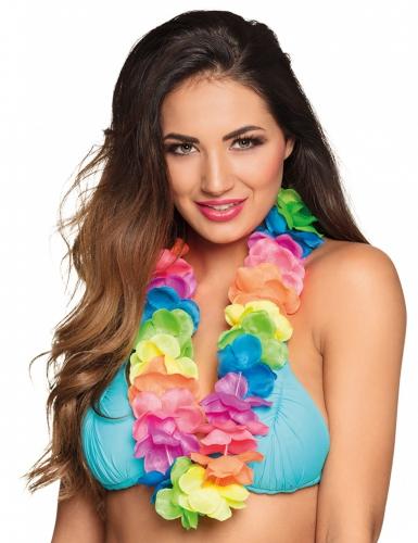 Veelkleurige luxe fluo Hawaii ketting voor volwassenen