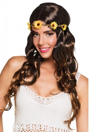 Lange bruine pruik met bloemen hoofdband voor vrouwen
