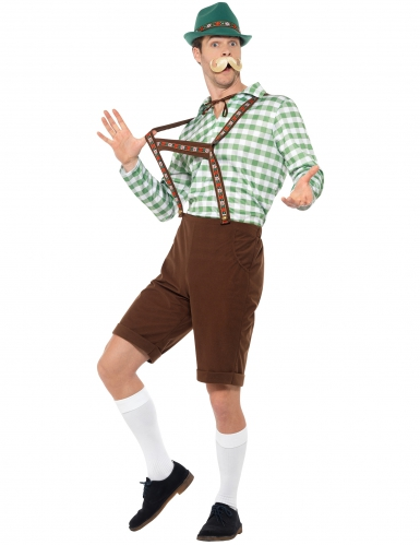Groen en bruin Beiers kostuum voor volwassenen-1