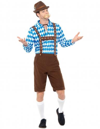 Blauw en bruin Beiers kostuum voor volwassenen-1