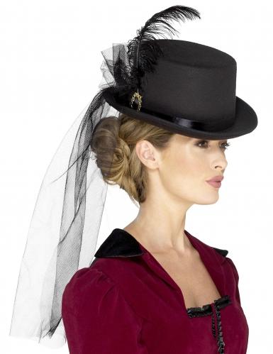 Steampunk hoge hoed met sluier voor vrouwen