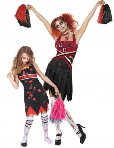 Zombie cheerleader koppelkostuum voor moeder en dochter