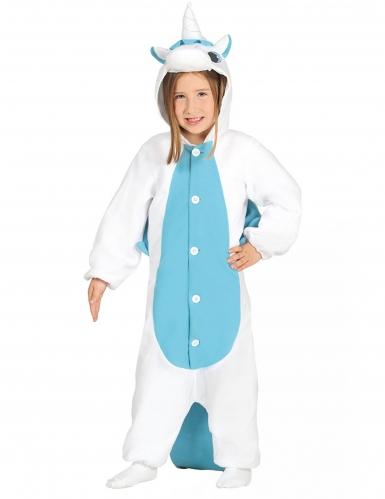 Blauwe en witte eenhoorn outfit voor kinderen