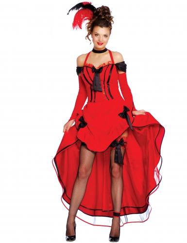 Rood cancan danseres kostuum voor vrouwen