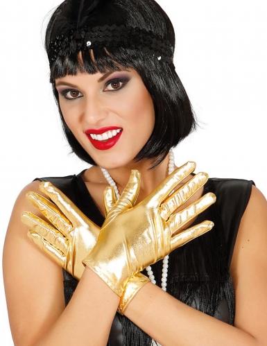 Korte goudkleurige metallic handschoenen voor vrouwen