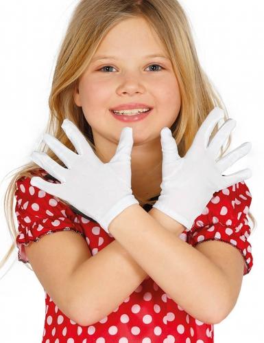Korte witte handschoenen voor kinderen