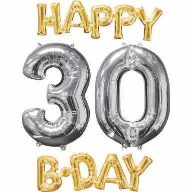 4 stijlvolle aluminium Happy Birthday ballonnen