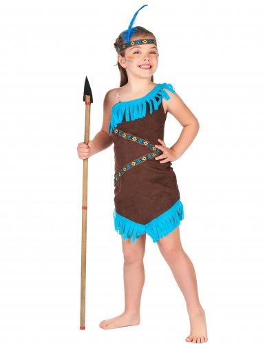 Bruine met blauwe indianen outfit voor meisjes