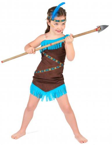 Bruine met blauwe indianen outfit voor meisjes-1