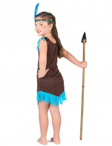 Bruine met blauwe indianen outfit voor meisjes-2