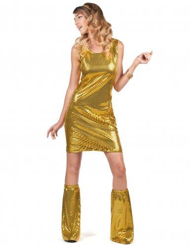 Goudkleurig disco kostuum voor dames-1