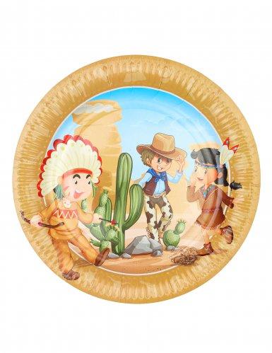 6 cowboys en indianen borden