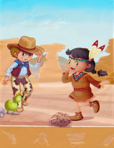 Cowboys en indianen plastic tafelkleed-1
