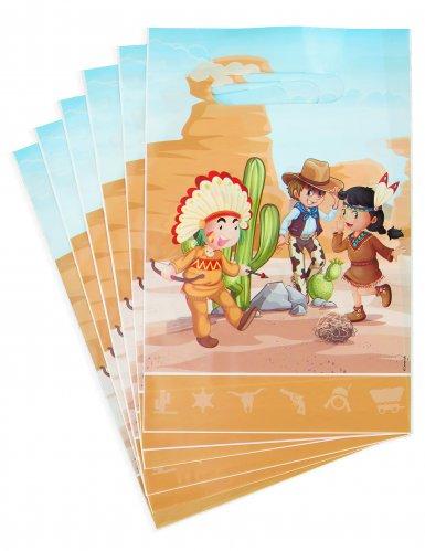 6 cowboys en indianen feestzakjes
