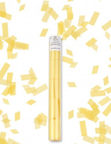 Gele rechthoekige confetti kanon