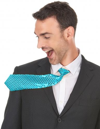 Turkooisblauwe stropdas met lovertjes voor volwassenen