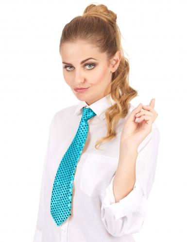 Turkooisblauwe stropdas met lovertjes voor volwassenen-1