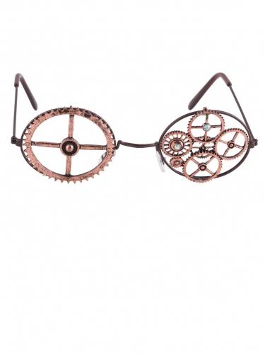 Bronzen ronde Steampunk bril-1