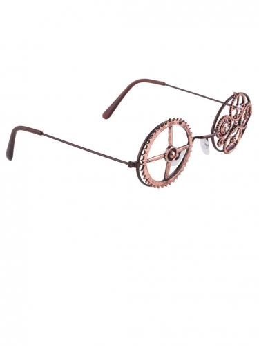 Bronzen ronde Steampunk bril-2