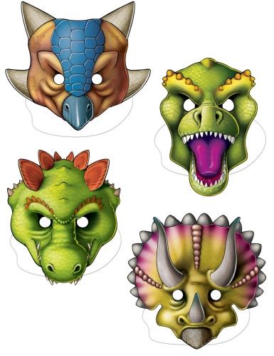 4 kartonnen dinosaurus maskers