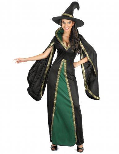 Zwart met groen heksen kostuum voor dames