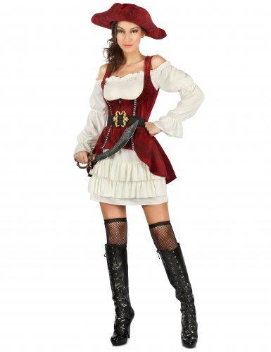 Wit met rood piraten pak voor dames