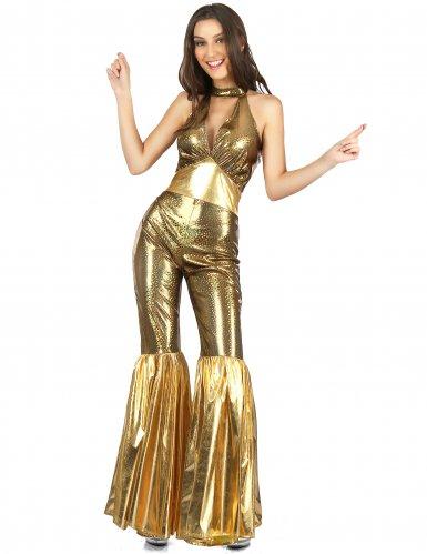 Goudkleurig disco kostuum voor vrouwen