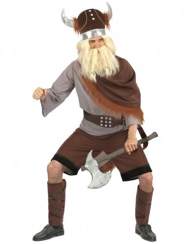 Grijs met bruin viking kostuum voor heren