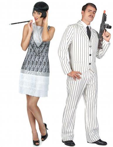 Wit gangster en charleston koppelkostuum voor volwassenen