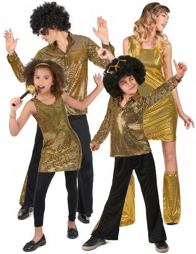 Goudkleurig disco familie kostuum