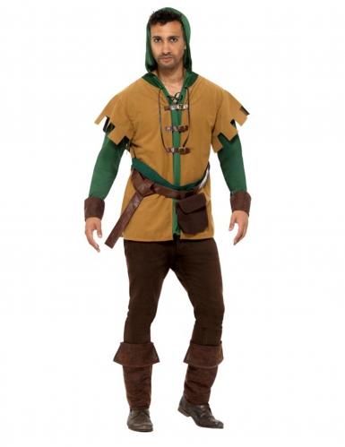 Beige en groen bos bandiet kostuum voor mannen