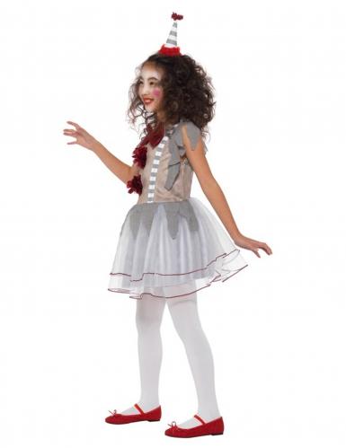 Grijs en rood vintage clown kostuum voor meisjes-2